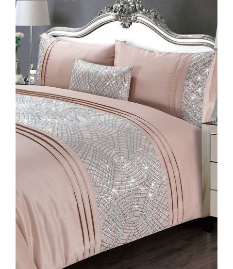 Charleston Duvet Cover and Pillowcase Bed Set - Double, Blush