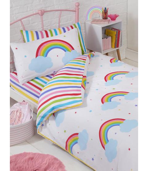 Set di biancheria da letto Junior Rainbow Sky Junior (piumone, cuscino e coperte)