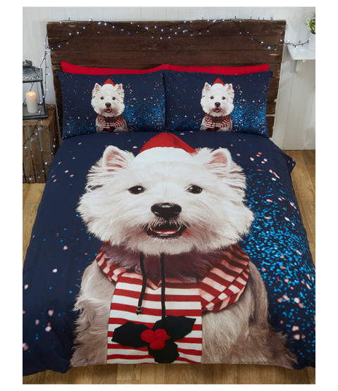 Christmas Westie Dog Double Duvet Cover and Pillowcase Set
