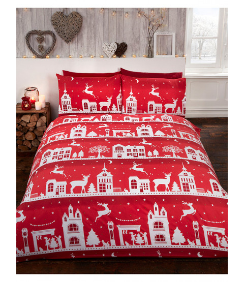 Reindeer Road Brushed Cotton Christmas King Size Duvet Cover Set - Red