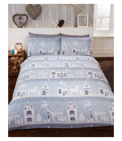 Reindeer Road Brushed Cotton Christmas Double Duvet Cover Set - Grey