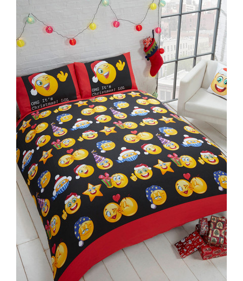 Emoji Juego de sábanas Icons Christmas Single Duvet Cover