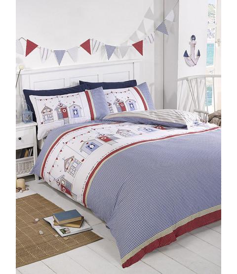 Beach Hut Single Duvet Cover and Pillowcase Set