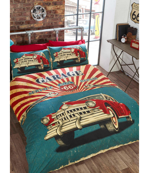 Retro Garage Single Duvet Cover Bedding Set