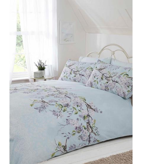 Eloise Floral Double Duvet Cover and Pillowcase Set - Duck Egg