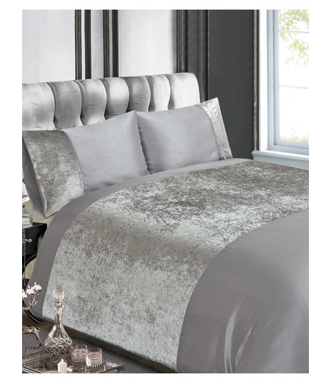 Crushed Velvet Silver Double Duvet Cover Set