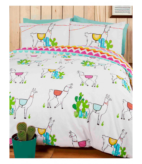 Happy Llamas Double Duvet Cover and Pillowcase Set