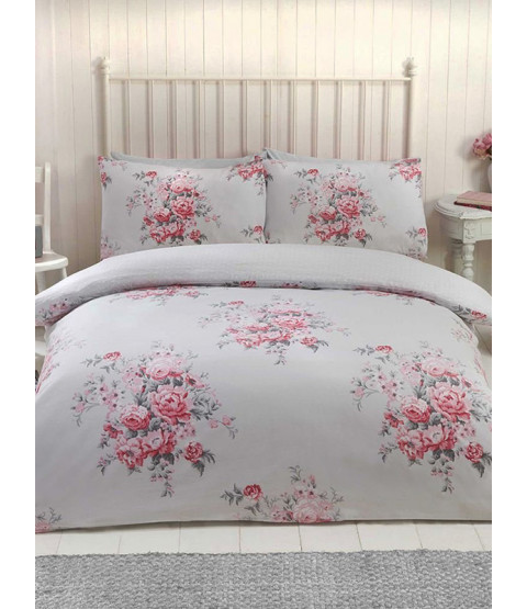 Maisie Floral Double Duvet Cover Set - Grey