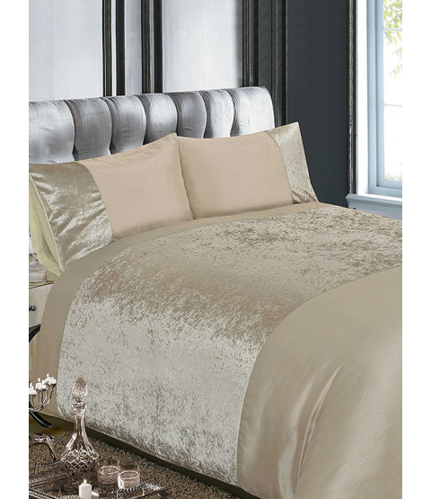 Crushed Velvet Natural King Size Duvet Cover and Pillowcase Set