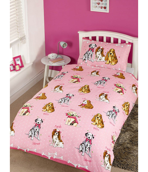 Doggies Pink 4 in 1 Toddler Bedding Bundle Set (Duvet, Pillow, Covers)