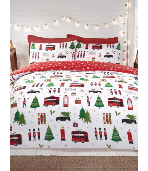 London Christmas Collage Double Duvet Cover and Pillowcase Set