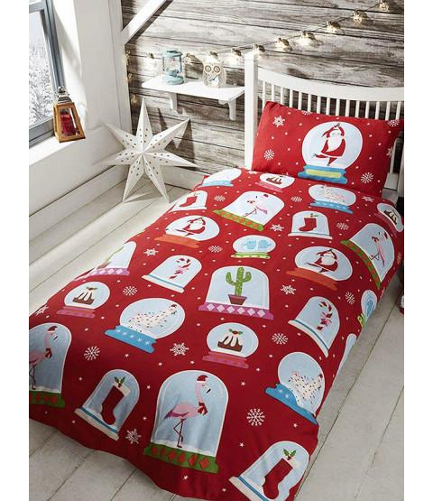 Christmas Snow Globes Single Duvet Cover Bedding Set