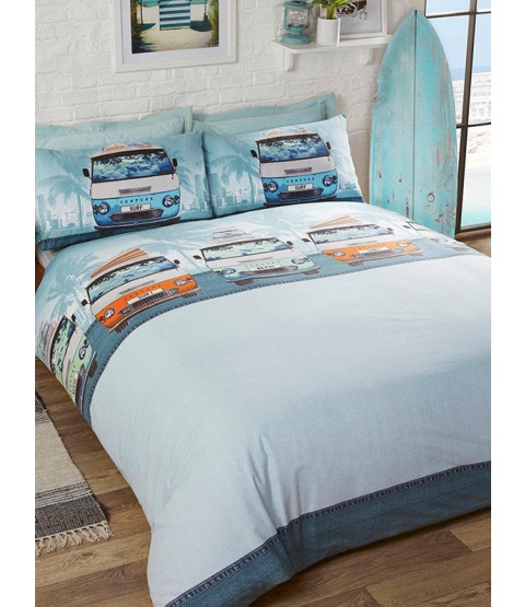 Campervan Double Duvet Cover and Pillowcase Set