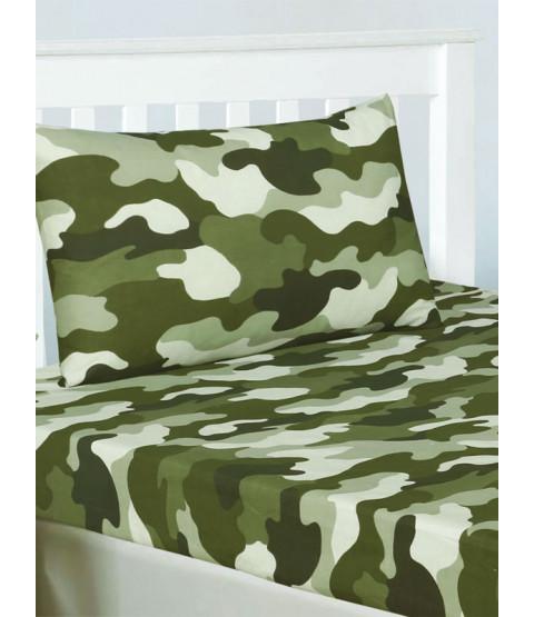 Juego de sábanas y fundas de almohada de camuflaje doble del ejército