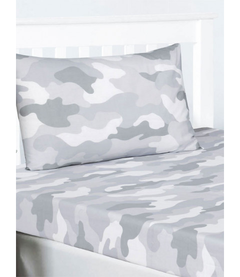 Grey Army Camouflage Single Fitted Sheet and Pillowcase Set