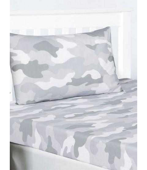 Ensemble drap et taie d'oreiller simple camouflage armée grise