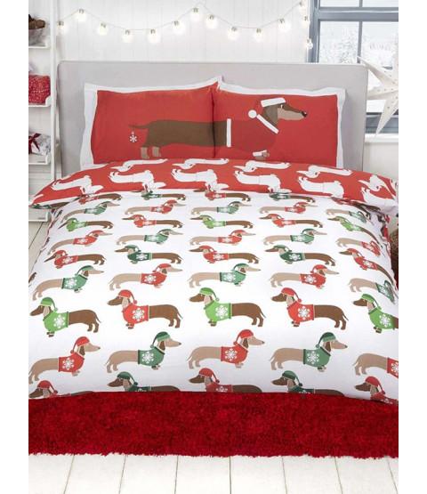 Christmas Sausage Dog King Size Duvet Cover and Pillowcase Set