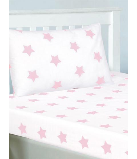 Ensemble drap et taie d'oreiller simple Stars roses et blancs