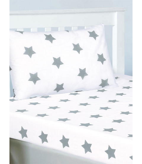 Grey and White Stars Double Fitted Sheet and Pillowcase Set