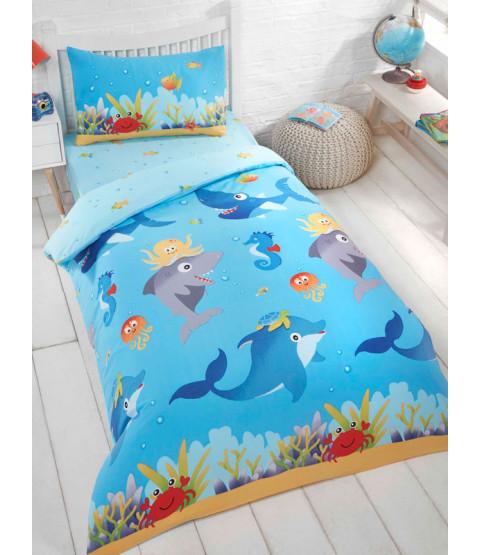 Sea Life Single Duvet Cover and Pillowcase Set