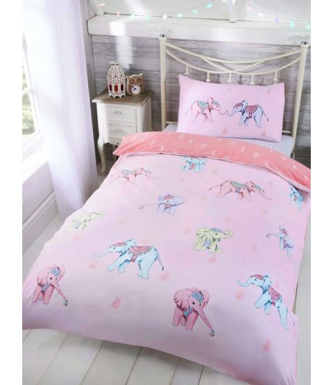 Ellie Elephant Single Duvet Cover and Pillowcase Set