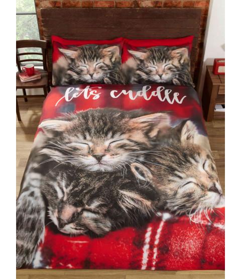 Set copripiumino singolo e federa per gatti coccole