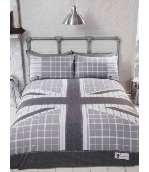 Cool Britannia Single Duvet Cover Set - Grey