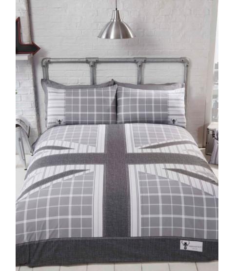 Cool Britannia Double Duvet Cover Set - Grey