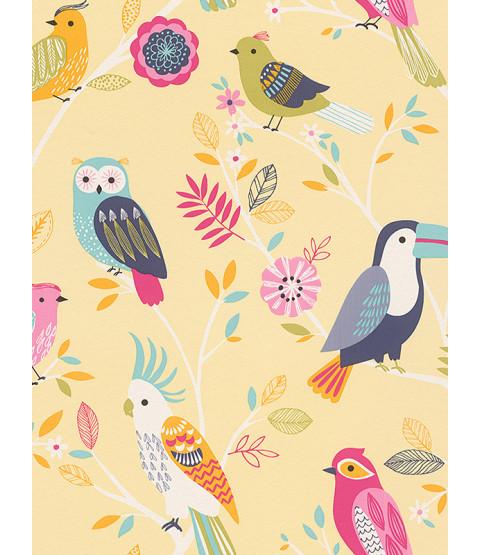 Rasch Birds Wallpaper - Yellow 293029