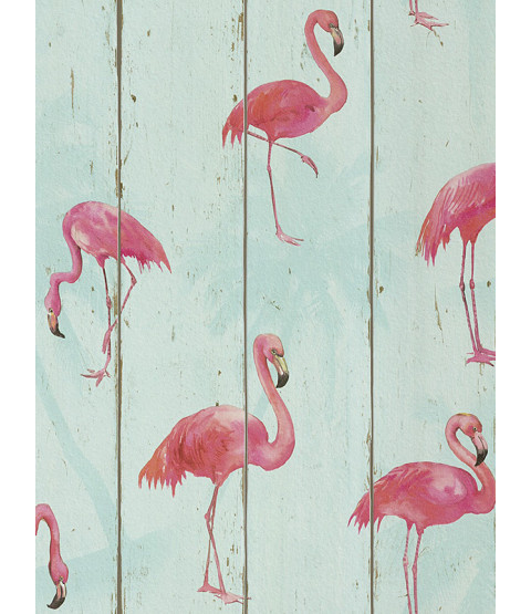 Rasch Barbara Becker Flamingo Wallpaper - Teal 479706