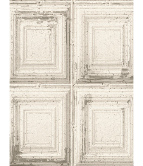 Rasch Distressed Wood Panels Wallpaper - White 932614