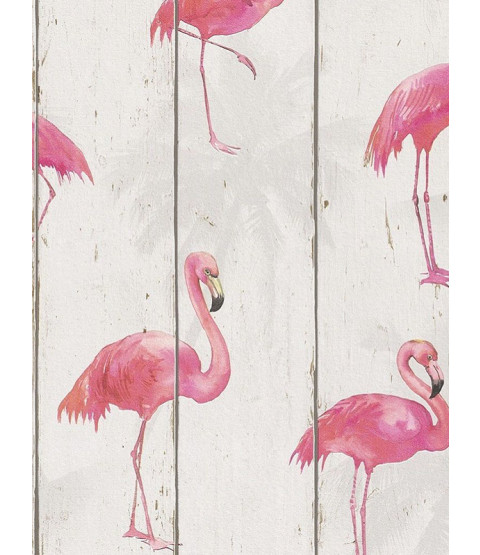 Rasch Barbara Becker Flamingo Wallpaper - Natural 479720