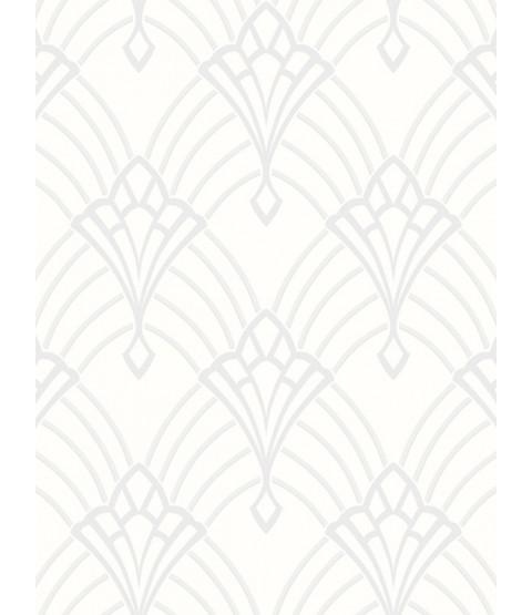 Astoria Deco Wallpaper White and Silver Rasch 305302