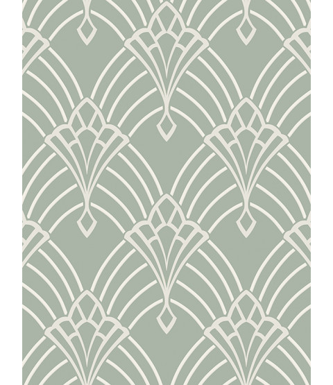 Astoria Deco Wallpaper Duck Egg and Silver Rasch 305333