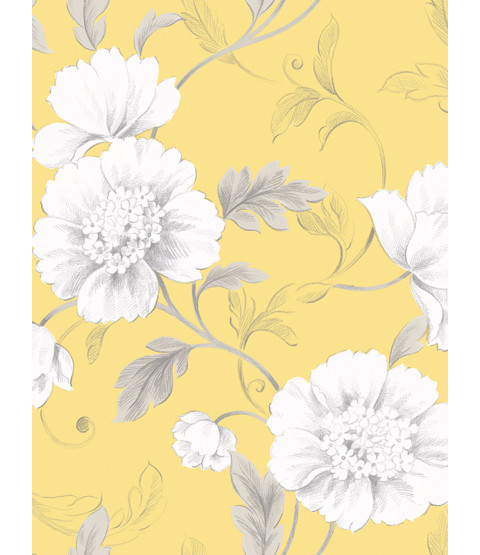 Boutique Floral Wallpaper Yellow Rasch 226164