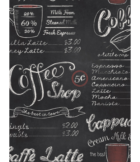 Coffee Shop Blackboard Wallpaper Rasch 234602