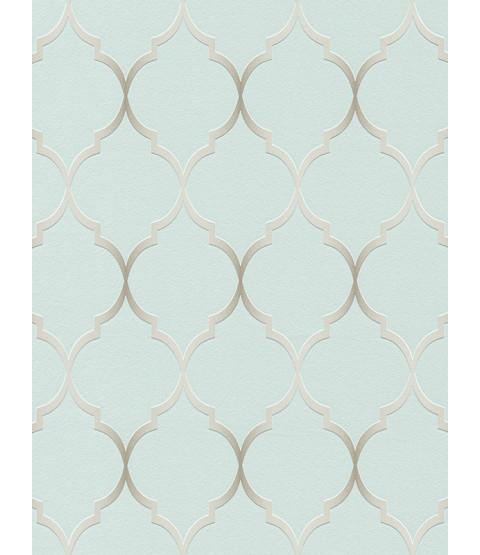 Carta da parati geometrica traforata Duck Egg Blue Rasch 701616