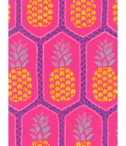 Pineapple Wallpaper by Barbara Becker - Hot Pink Rasch 862126