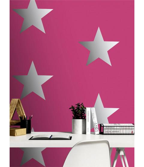 Metallic Stars Wallpaper Pink / Silver Rasch 248180