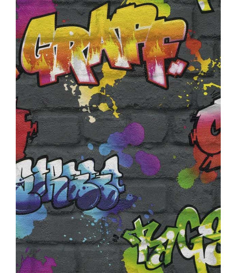 Rasch Graffiti Wallpaper - Black 237801