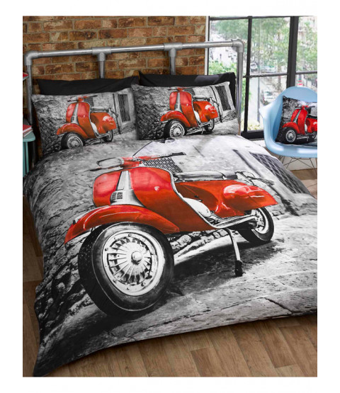 Retro Scooter Single Duvet Cover and Pillowcase Set