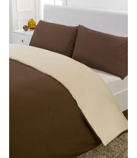 Reversible Chocolate & Cream Single Duvet Cover & Pillowcase Set