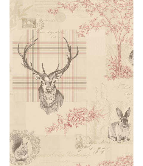 Richmond Highland Stag Wallpaper - Cranberry - 98010