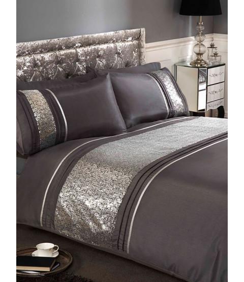 Ritz Silver Double Duvet Cover and Pillowcase Set
