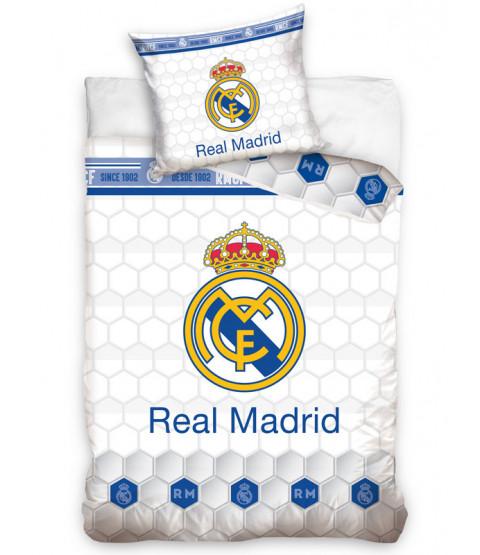 Real Madrid CF White Geo Single Duvet Cover Set