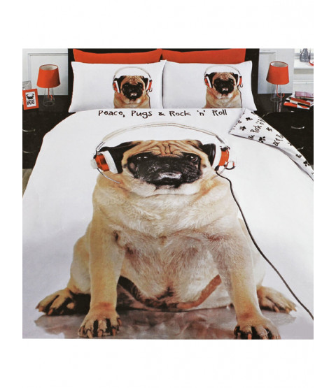 Rock n Roll Pug Double Duvet Cover and Pillowcase Set