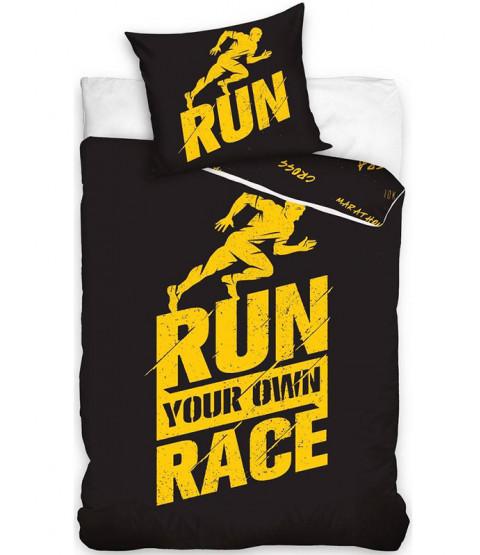 Completo copripiumino cotone singolo Runners - nero e giallo