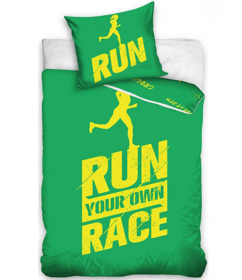 Runners Single Cotton Duvet Cover Set - Green and Yellow