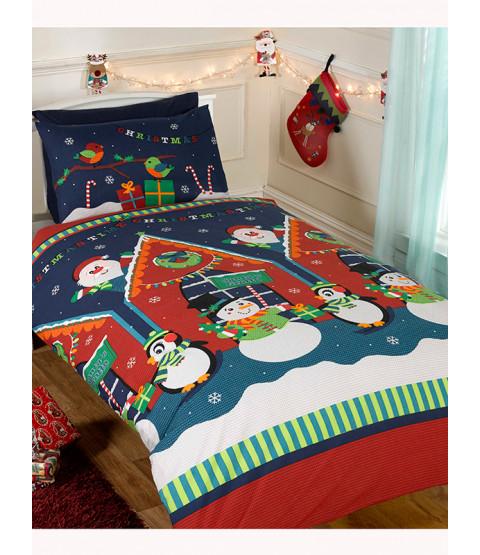 Juego de funda nórdica individual y funda de almohada Santa Grotto - Ropa de cama navideña