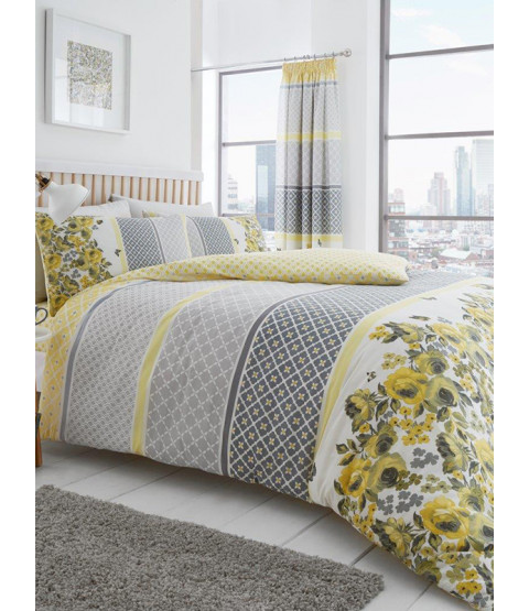 Saphira Grey and Yellow Floral Double Duvet Cover Set